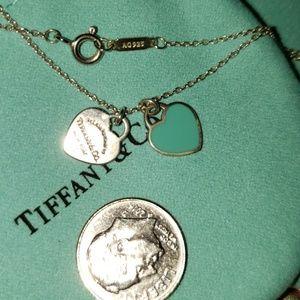 TIFFANY BLUE/DOUBLE HEART NECKLACE